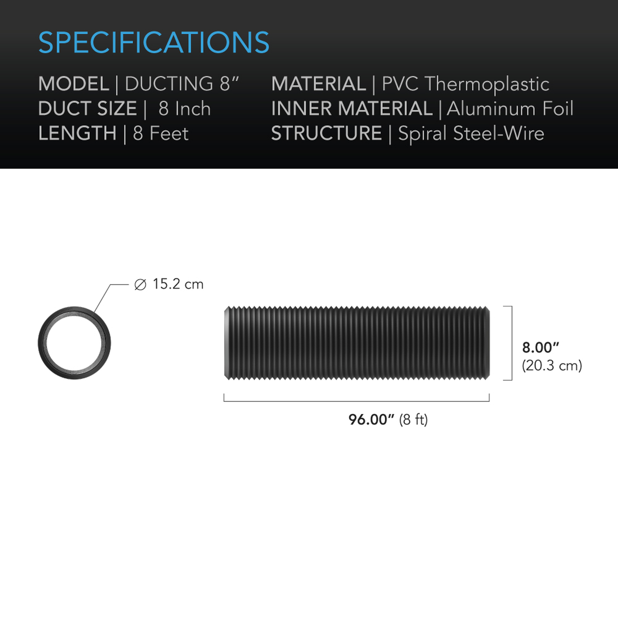 Duct tube 8 25' Specifications